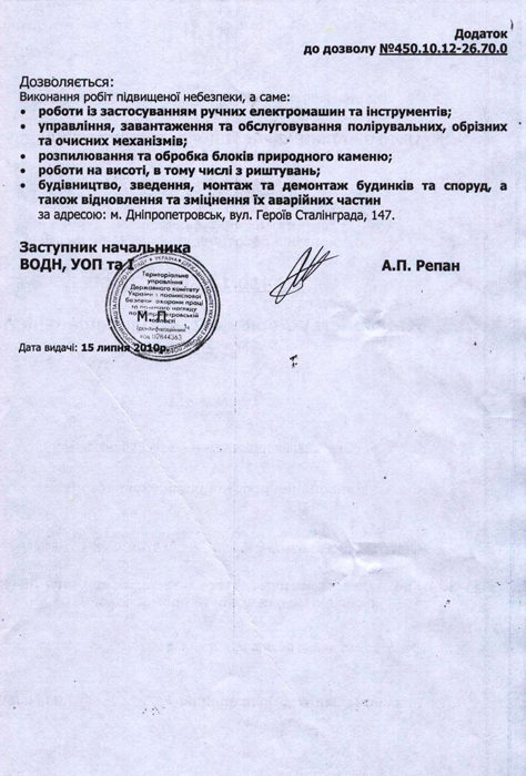 Permission to accomplish hazardous works. application 1